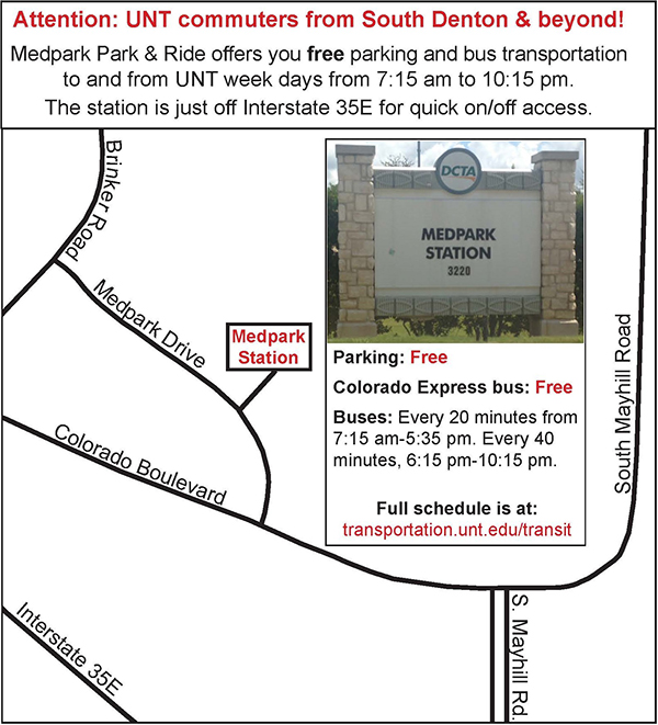 Medpark Park and Ride Options Map