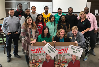 Santa's helpers at UNT including Staff Senate and Mean Green members