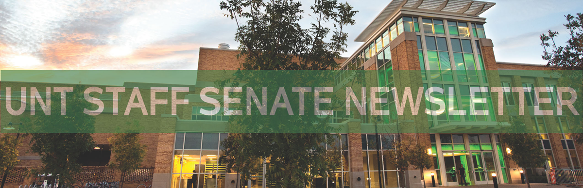 Staff Senate masthead, photo of the UNT University Union with the words UNT Staff Senate Newsletter across the photo