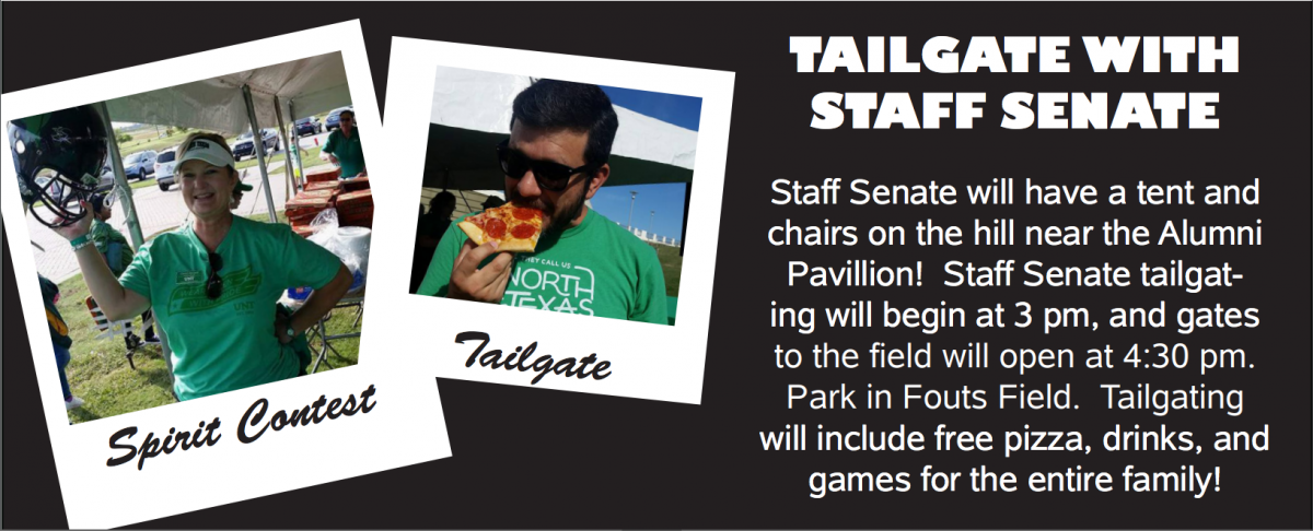 Tailgate with the Staff Senate, Sept. 2 from 3 to 4:30 p.m. in Fouts Field.