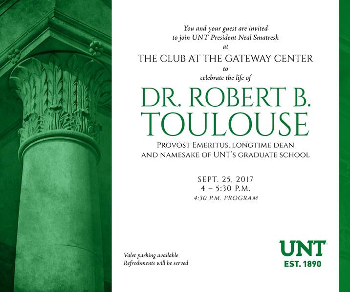Invitation to the celebration of Dr. Toulouse at The Club at Gateway Center.